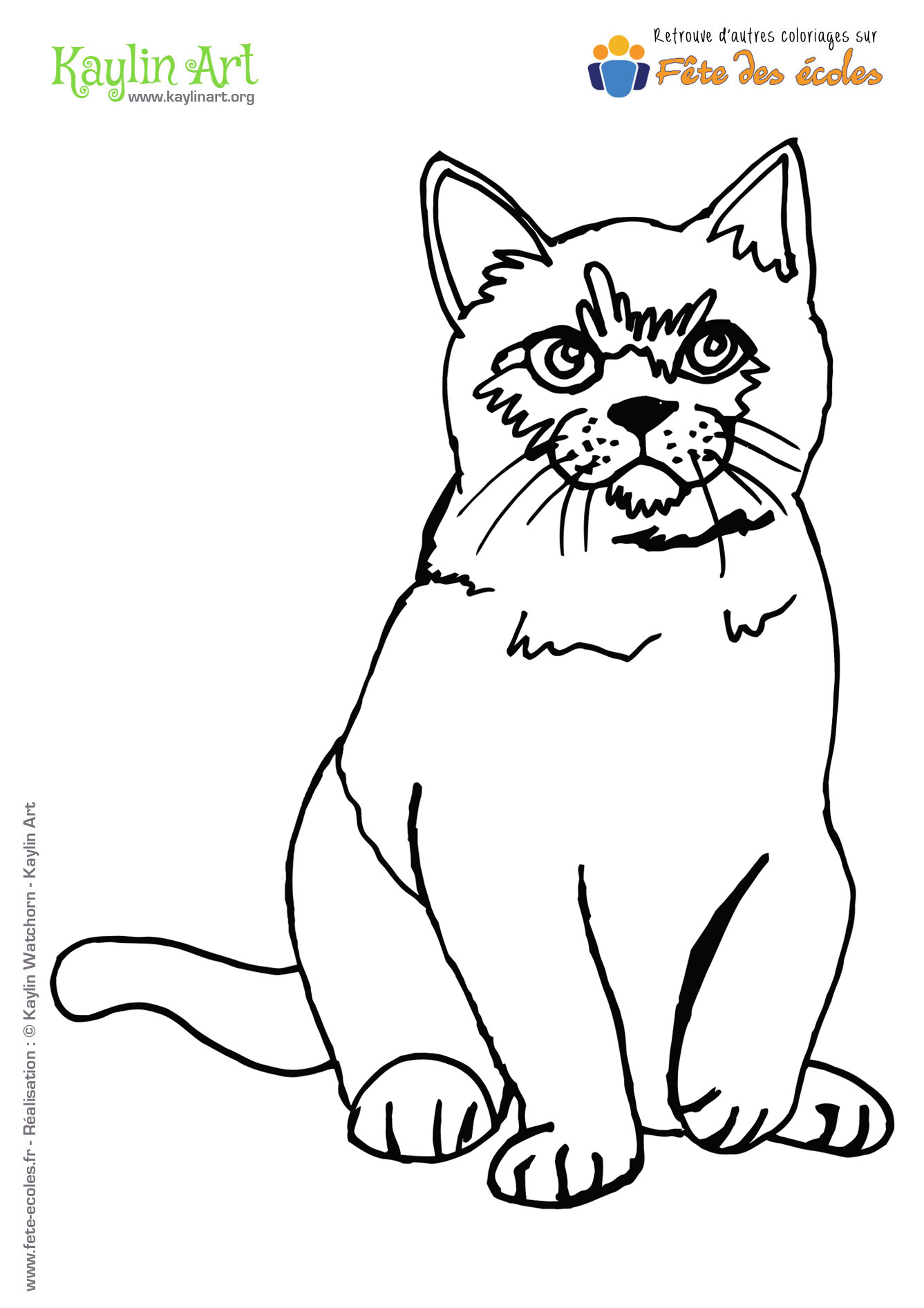 Coloriage d'un chat assis de KaylinArt