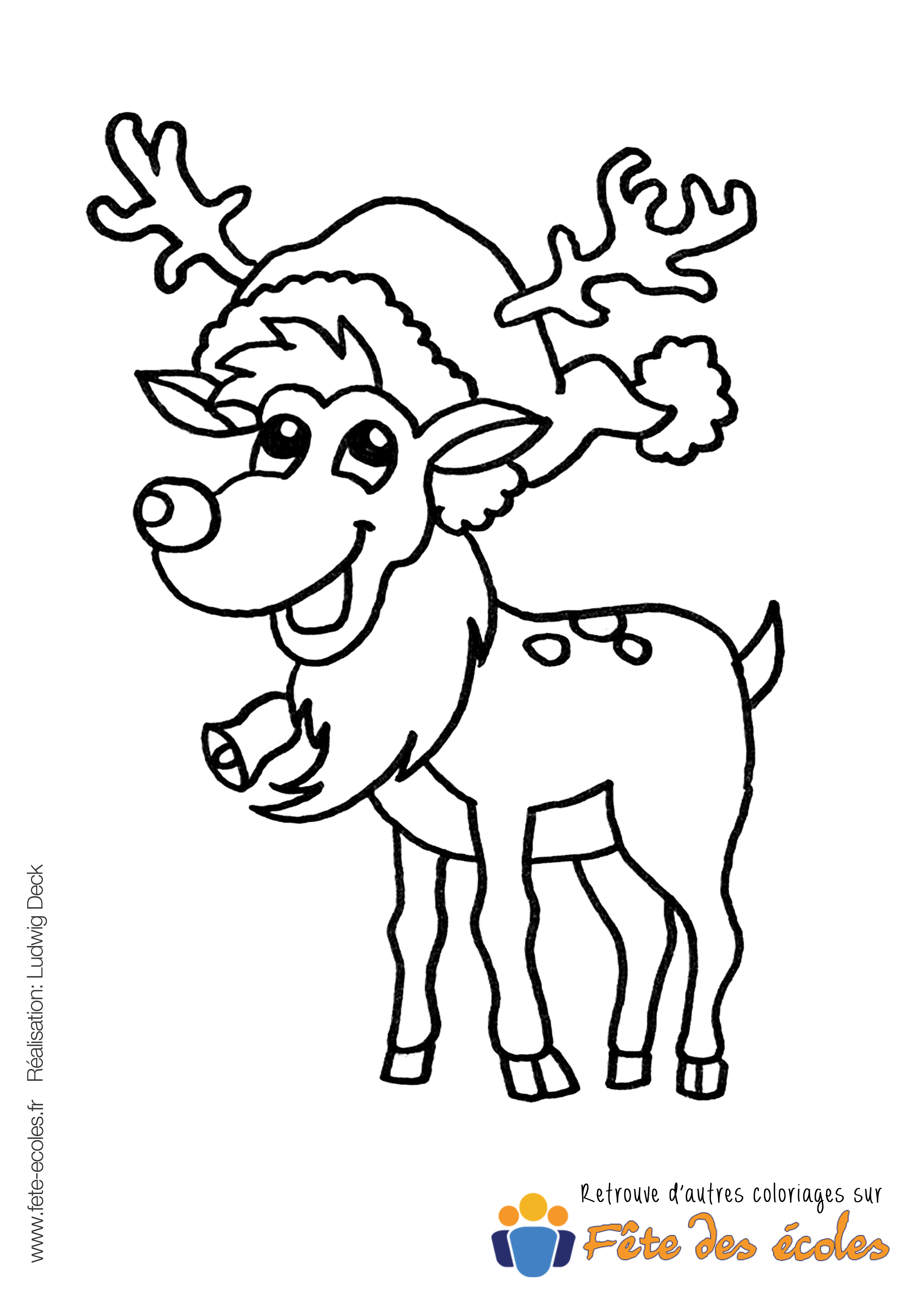 coloriage renne noel rudolph