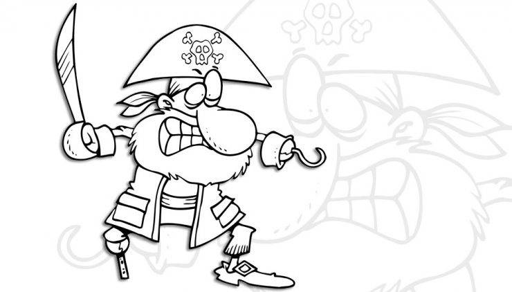 Coloriage d'un pirate avec crochet